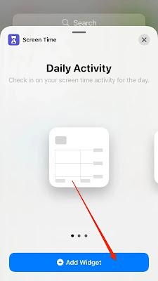 لقطة شاشة تعرض خيار إضافة عنصر واجهة مستخدم مرة أخرى على iPhone