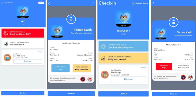 New Interface Check in & Check Out Aplikasi My Sejahtera
