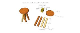 Diseño y piezas del banquito o zancudo