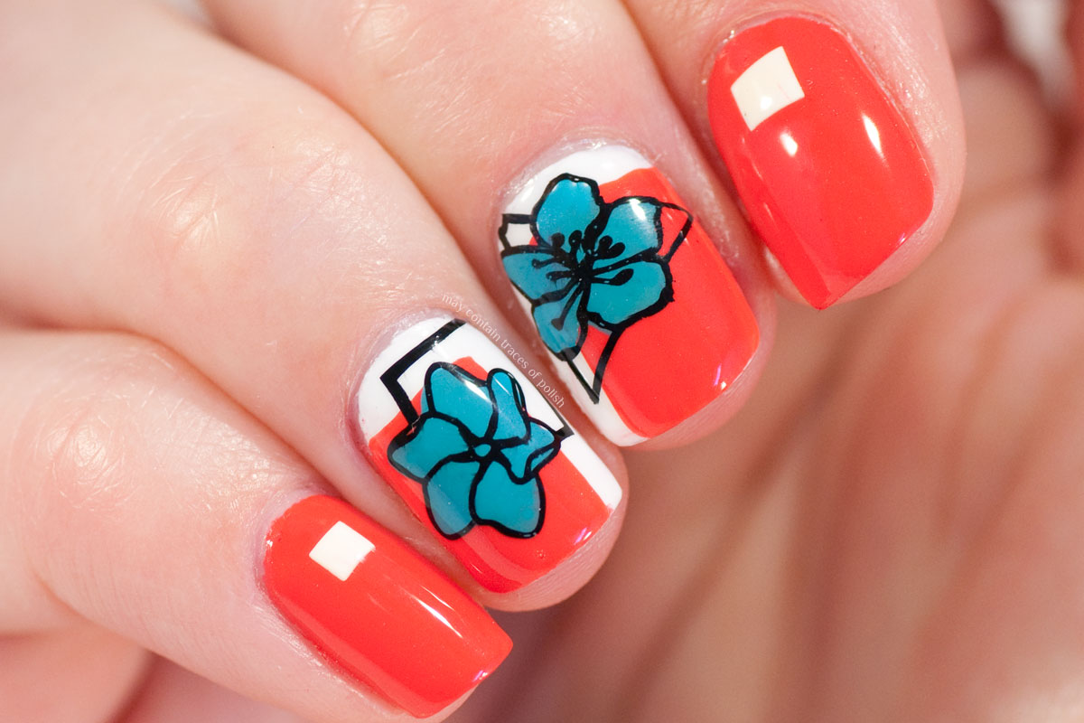 Floral Geometric Nail Art with MoYou London Flower Power 21
