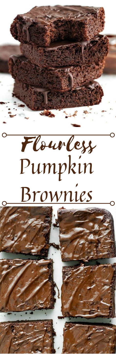 Flourless Pumpkin Brownies #healthycake #pumpkin #bars #easy #dessert