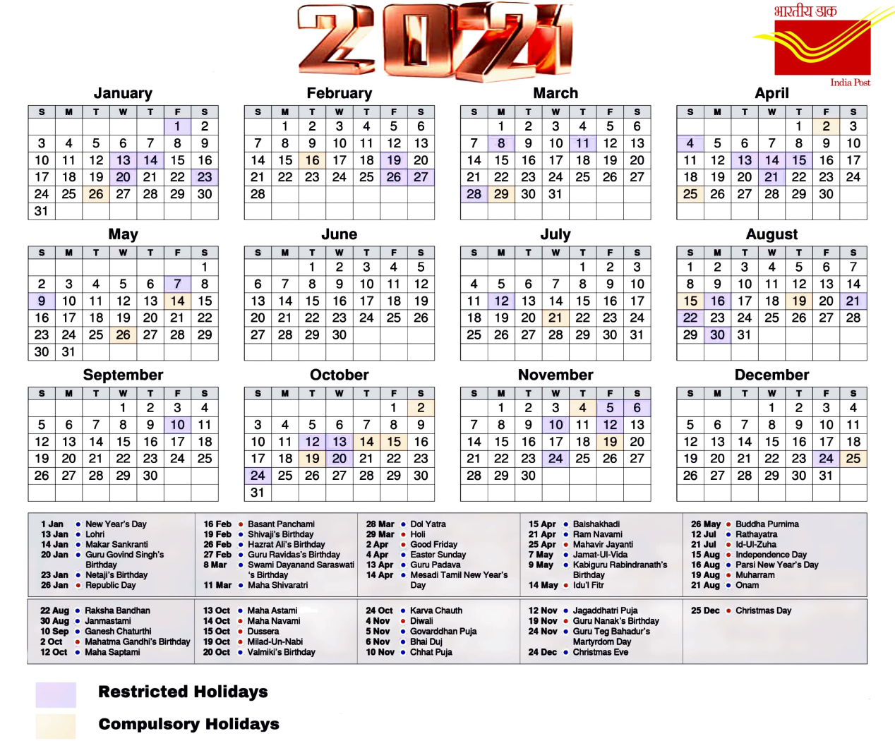 Postal Calendar 2022.Postal Calendar 2021 Update Restricted And Compulsory Holiday Po Tools