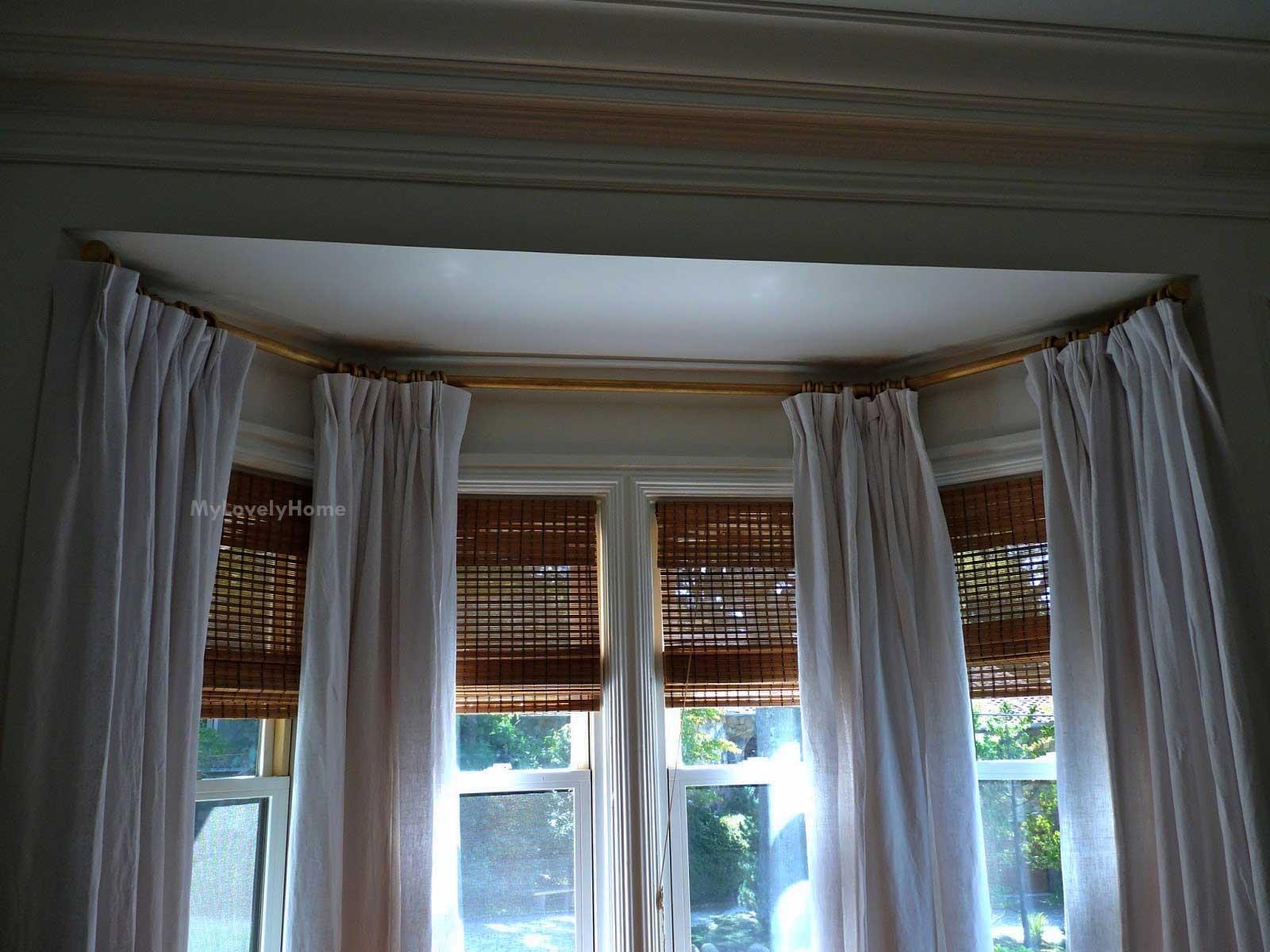 window bay curtain pole instalation tips