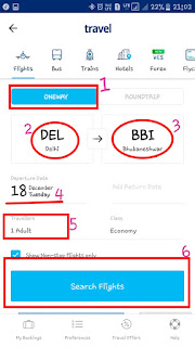 for Online Flight Ticket Booking Choose your Destinations and Journey date and click on search flight option
