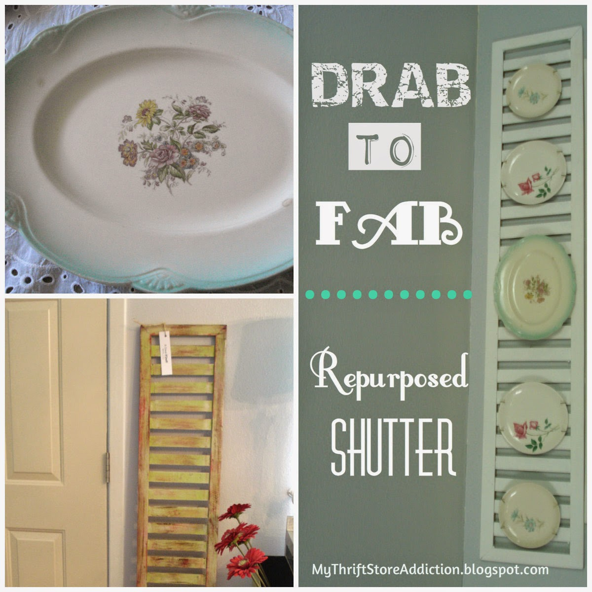 Repurposed vintage shutter plate rack