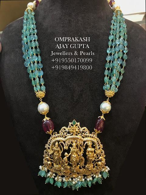 Small Green Beads Set Ramparivar Locket