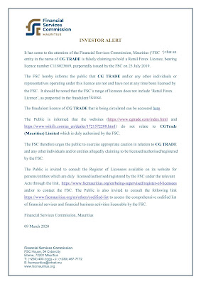 FSC issues Investor Alert against CG TRADE