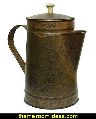 Rusty Tin Metal Coffee Pot Rustic Black Distressing Country Primitive Kitchen Décor