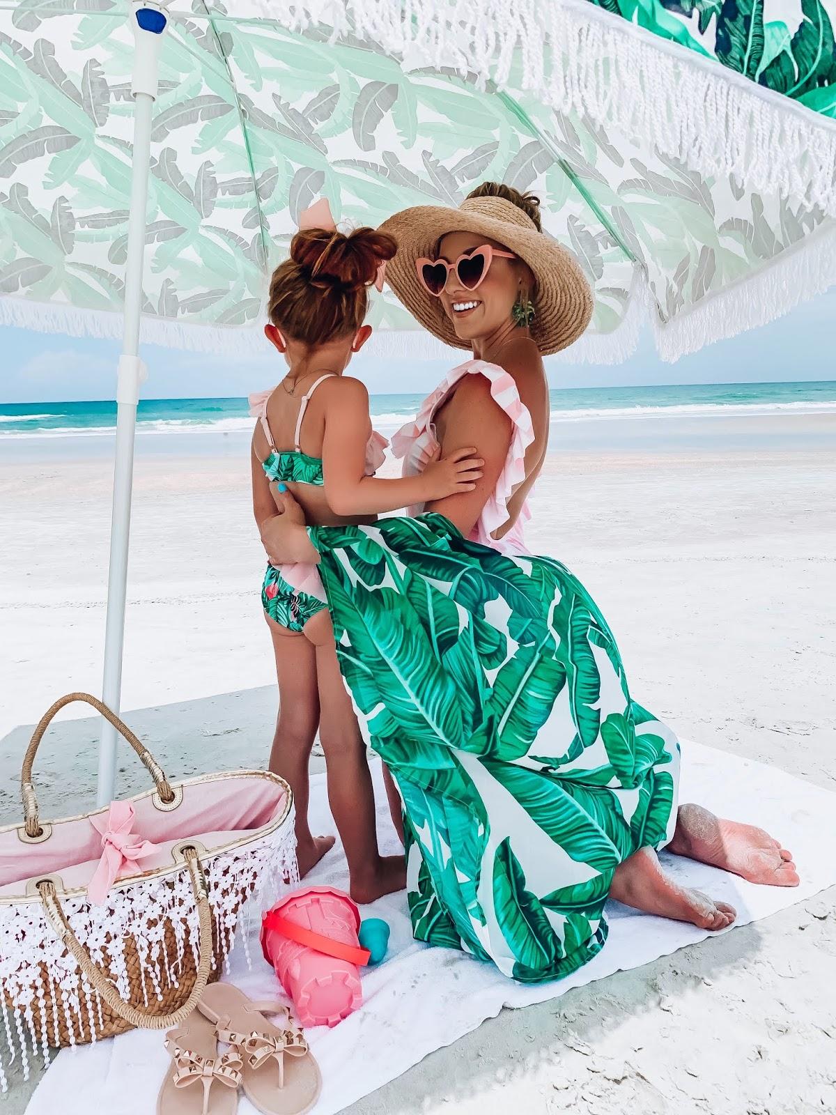 $40 Target Ruffle Back Swimsuit: Pink & White Stripes + Palm Print, Beach Style - Something Delightful Blog