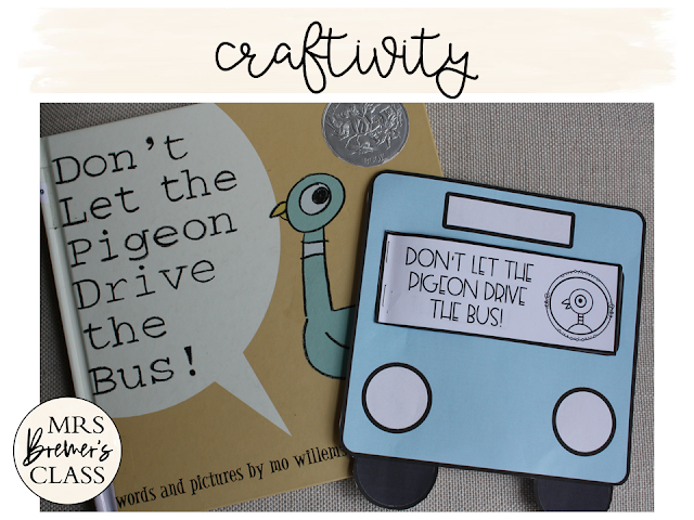 Don't Let the Pigeon Drive the Bus book study activities unit with Common Core aligned literacy companion activities, class book & craftivity for Kindergarten and First Grade
