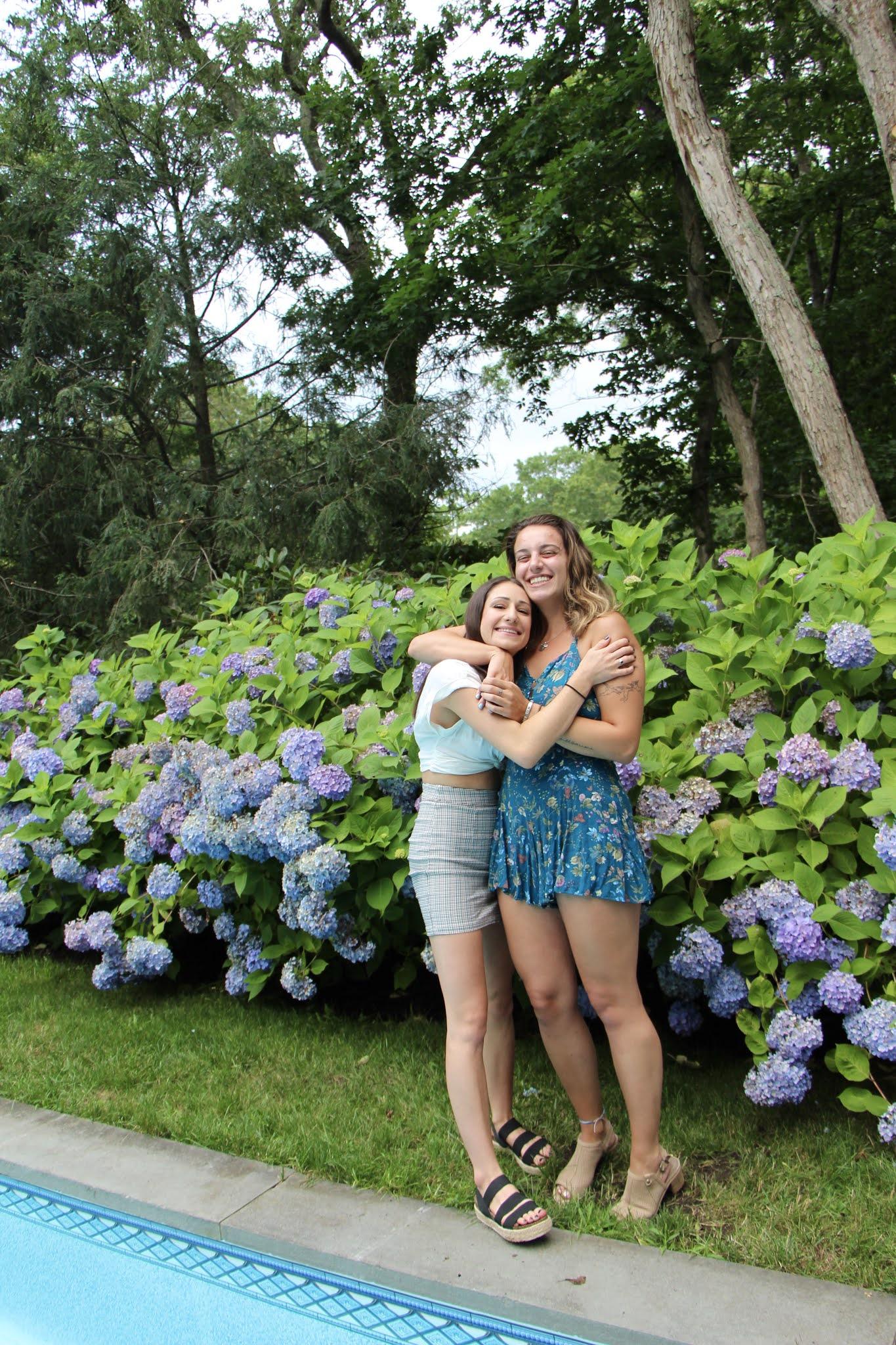 hydrangeas, pool, flowers