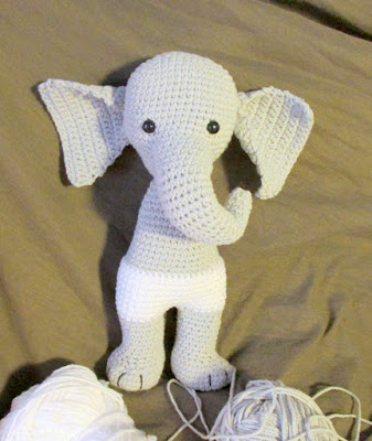 Crochet amigurumi elephant girl under construction