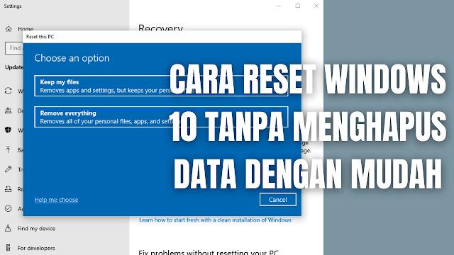 "Cara Reset Windows 10 Tanpa Menghapus Data Dengan Mudah Perlu di ingat cara ini akan menghapus keseluruhan aplikasi dan program yang tersimpan pada penyimpanan, yang tidak dihapus hanyalah files atau data-data yang tersimpan pada penyimpanan. Maka diperlukan kehati-hatian di dalam mengatur ulang atau reset windows pada laptop atau komputer. Pilihan yang digunakan di dalam mengatur ulang atau reset windows 10 tanpa menghapus data pada artikel ini ialah dengan menggunakan ""Keep My Files"".  Jadi apabila reset dengan menggunakan metode ini, akan membuat windows kembali seperti baru dan seluruh aplikasi dan program yang tersimpan pada penyimpanan akan terhapus, kecuali file atau data-data yang tersimpan pada penyimpanan. Untuk mengatur ulang atau reset windows 10 tanpa menghapus data, silahkan ikuti langkah-langkah berikut ini :  Pada perangkat ""Laptop Pasang Kabel Charger"" terlebih dahulu, karena apabila tidak memasang kabel charger pada laptop proses reset tidak akan berhasil. Pada taksbar kolom pencarian silahkan ketik ""Windows Update Settings"" Pilih ""Recovery"" Pilih ""Get Started"" pada reset this PC Pilih ""Keep My Files"" Pilih ""Local Reinstall"" Pilih ""Next"" Pilih ""Reset"" Proses reset akan berlangsung dan membutuhkan waktu yang sangat lama tergantung banyaknya data pada penyimpanan. Setelah selesai windows akan kembali keadaan seperti baru tanpa menghapus file atau data yang tersimpan pada penyimpanan.    Nah itu dia bagaimana cara reset windows 10 tanpa menghapus data dengan mudah, melalui bahasan di atas bisa diketahui mengenai langkah di dalam reset pada windows 10 tanpa menghapus data. Mungkin hanya itu yang bisa disampaikan di dalam artikel ini, mohon maaf bila terjadi kesalahan di dalam penulisan, dan terimakasih telah membaca artikel ini.""God Bless and Protect Us"""