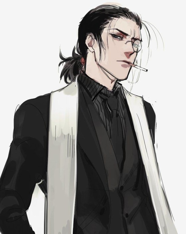 Male anime character with ponytail hairstyle