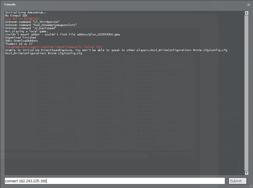 Garry's Mod CVar List (Console commands) | Garry's Mod