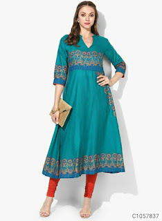 Authentic Cotton Pinted 3/4th Sleeve Kurtis