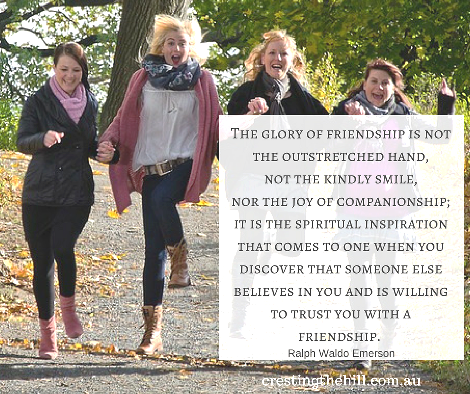 The glory of friendship is not the outstretched hand, not the kindly smile, nor the joy of companionship;