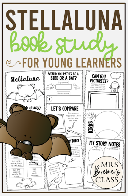 Stellaluna book study activities unit with Common Core aligned literacy companion activities and craftivity for Kindergarten and First Grade