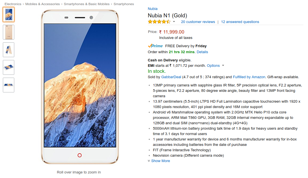 9c26f5f9ae1 Nubia N1 Price in India on Flipkart