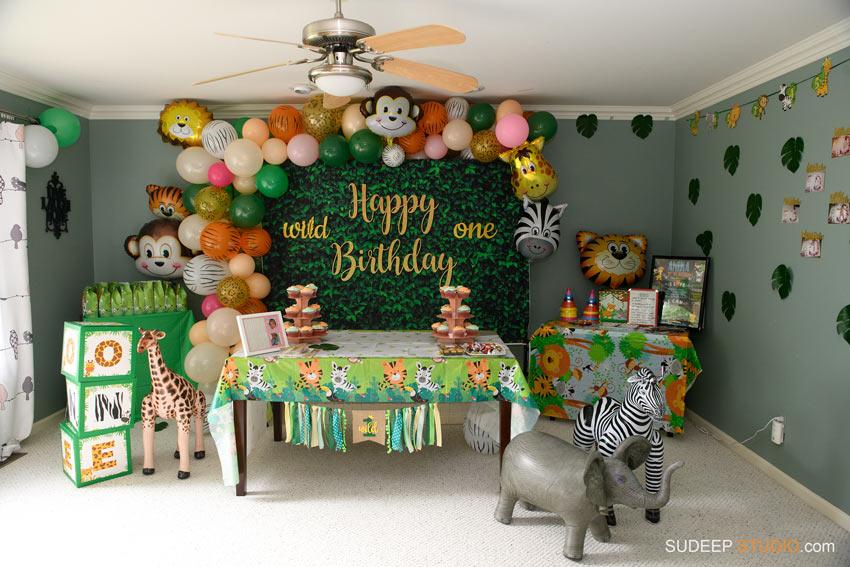 First Birthday Party Decorations Animal Safari Jungle Theme in Ann Arbor, Saline, Novi by SudeepStudio.com Ann Arbor Birthday Party Photographer