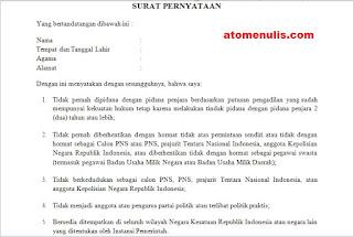 Contoh Surat Pernyataan Lima Hal Untuk Pemberkasan CPNS