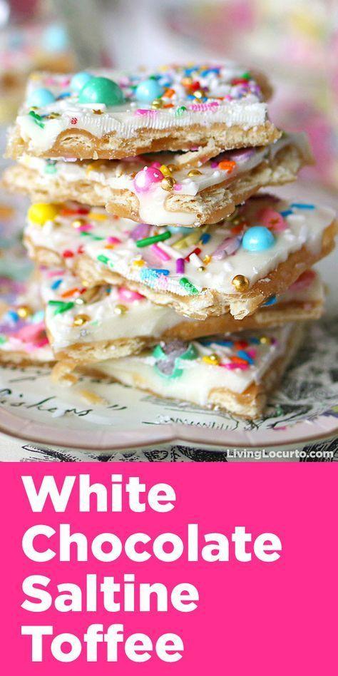 White Chocolate Saltine Toffee