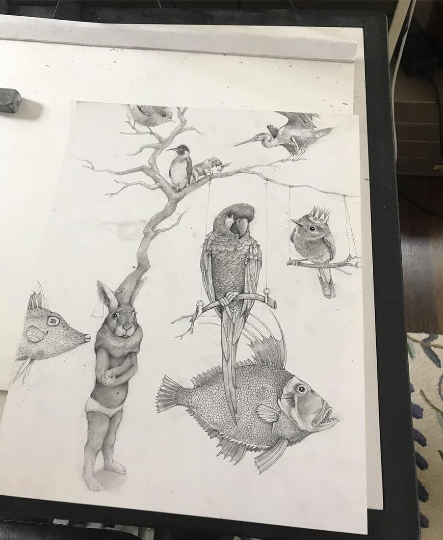 08-Small-and-Very-Large-Surreal-Animal-Drawings-www-designstack-co