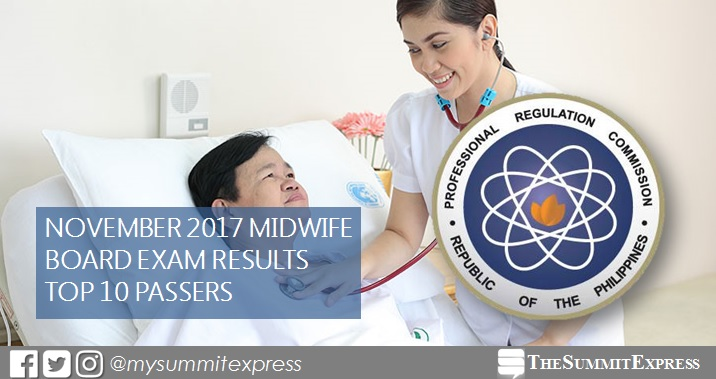 RESULTS: November 2017 Midwifery board exam top 10 passers