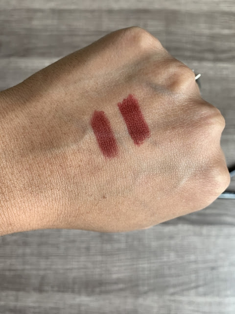 Make Up For Ever (MUFE) aqua lip liner 11c vs Maybelline shaping lip liner divine wine swatches