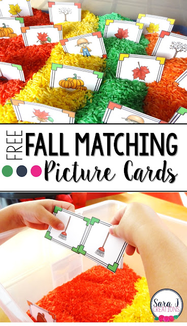 Fall matching picture cards perfect for toddlers and preschoolers to begin matching pictures.  Throw into a sensory bin for even more fun!