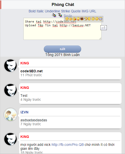 Share Code Chatbox Wapka kèm BBcode nhanh khá Đẹp