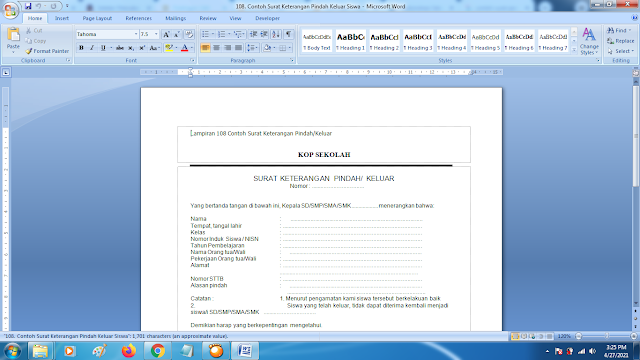 Contoh Format Surat Keterangan Pindah/Keluar Sekolah Terbaru