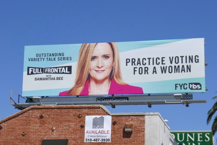 Samantha Bee Practice voting for a woman Emmy nominee billboard