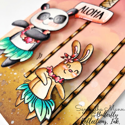 Aloha Card by Samantha Mann, Butterfly Reflections Ink, Distress Inks, Ink Blending, Avery Elle, Luau Party, #brimoodboard #butterflyreflectionsink #averyelle #luauparty #handmadecards #cardmaking #distressinks #inkblending