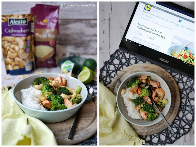 Marinerter Lachs mit Brokkoli und Reis   Kochen   Rezept    Essen