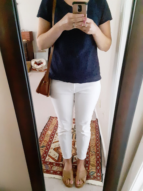 navy and white summer outfit, Catholic women's style, thrifted outfit, white jeans summer outfit