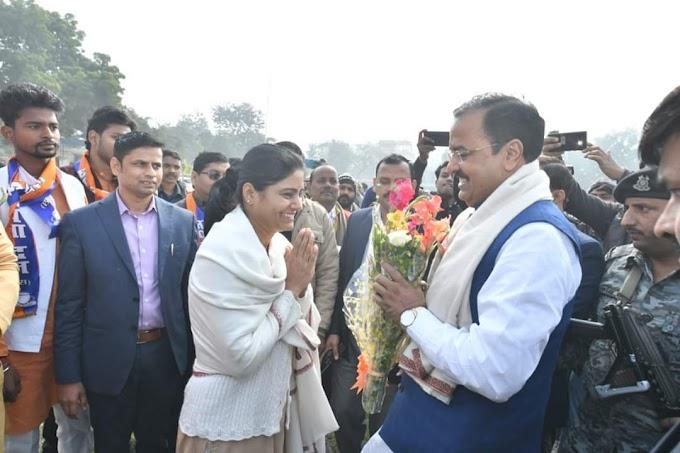 उप मुख्यमंत्री श्री केशव प्रसाद मौर्या जी का स्वागत मिर्जापुर में श्रीमती अनुप्रिया पटेल जी