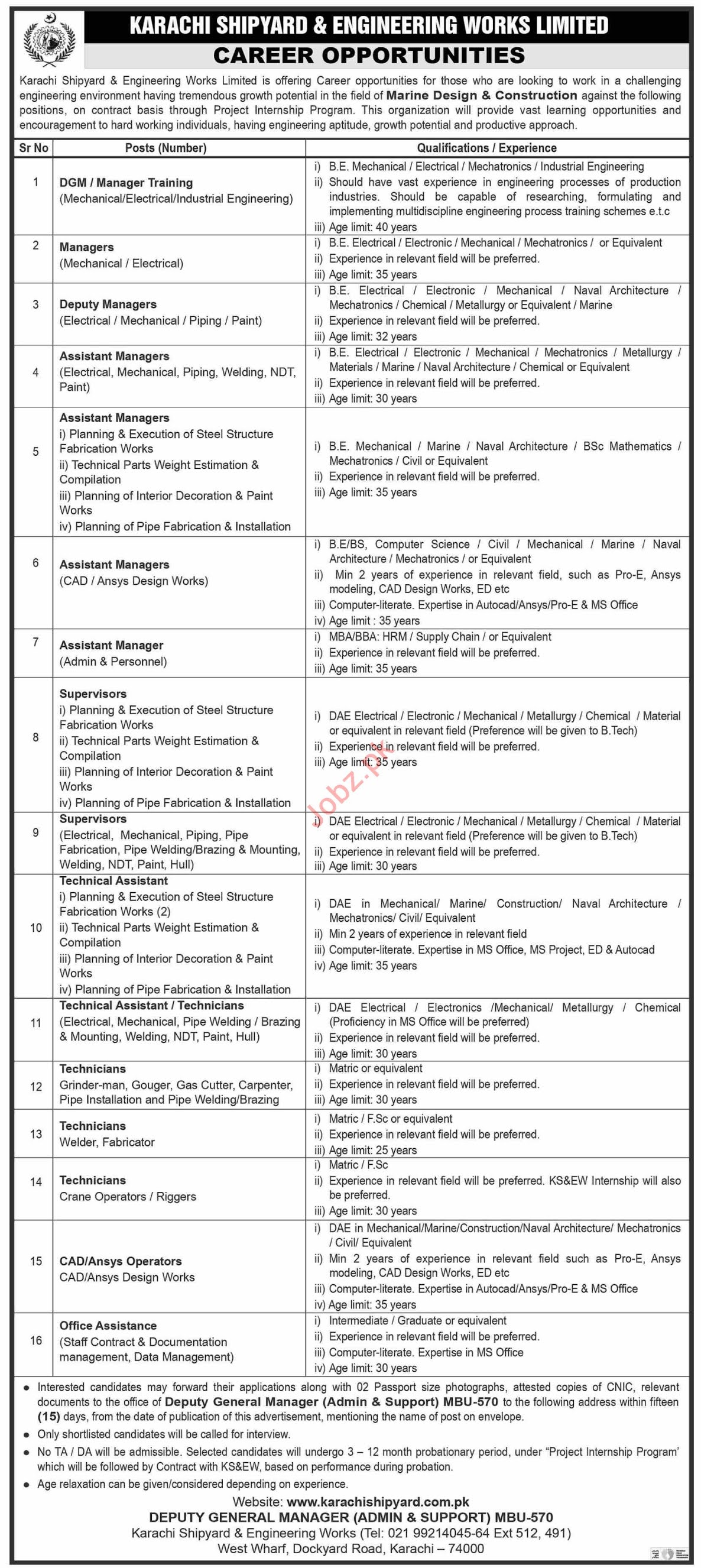 Jobs in Karachi Shipyard and Engineering Works Limited