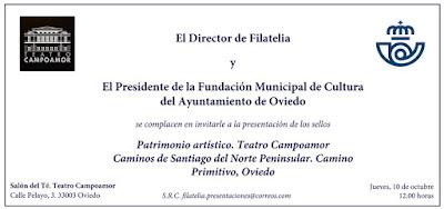 Invitación presentación sellos Campoamor y Camino de Santiago