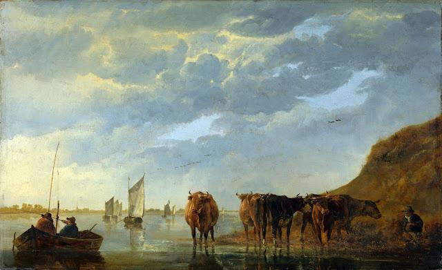 Альберт Кёйп - Пейзаж с пастухом и стадом у реки. 1650