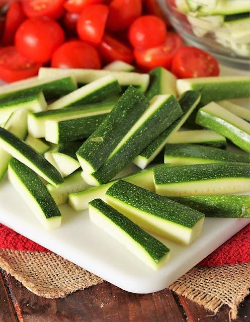 Zucchini Matchsticks Cut for Summer Vegetable Tortellini Salad Image