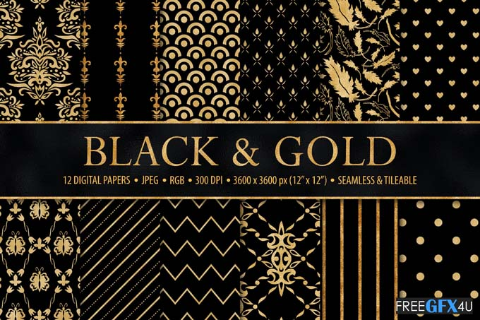 Black and Gold Seamless Digital Papers