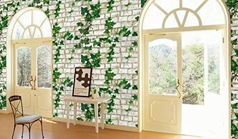 Wollzo Leafy Look Self Adhesive Wallpaper