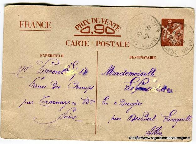 carte postale de correspondance de 1940