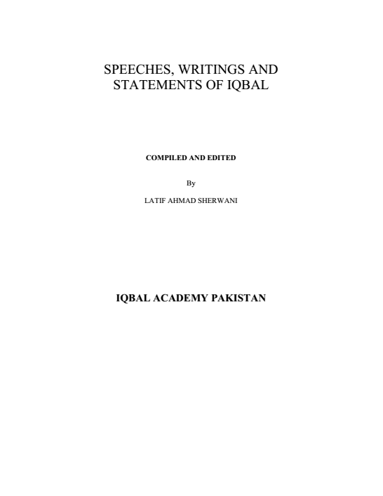 Speeches, Writings And Statements Of Allama Iqbal PDF Book