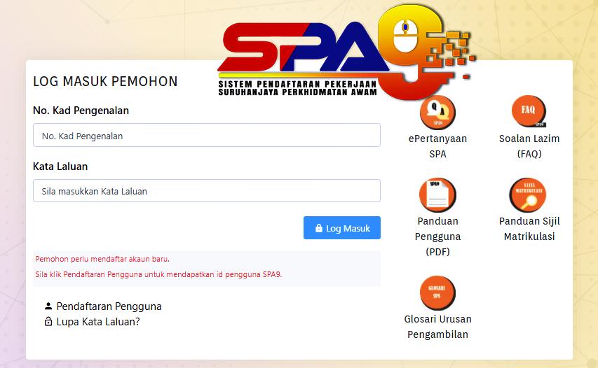 Cara Daftar SPA9 untuk Akaun Baru dan Akaun Tamat Tempoh