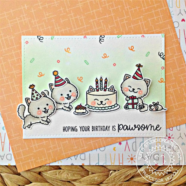 Sunny Studio Stamps: Purrfect Birthday Confetti Background Kitty Birthday Card by Franci Vignoli