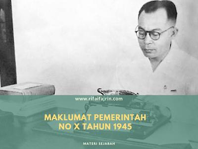 MAKLUMAT PEMERINTAH NO X TAHUN 1945