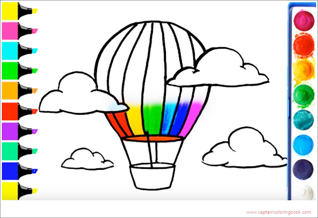 Hot Air Balloon Coloring Page free for kids