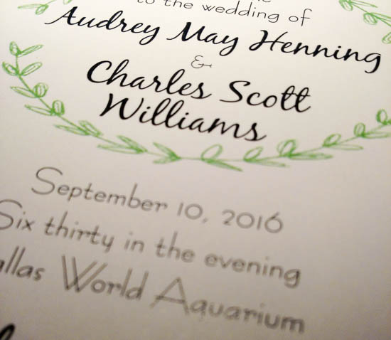 Wedding program at Dallas World Aquarium